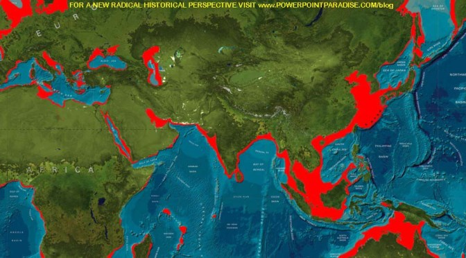 Bronze Age ice melt rise of Sea level submerged port cities & shrunk Earth's landmass